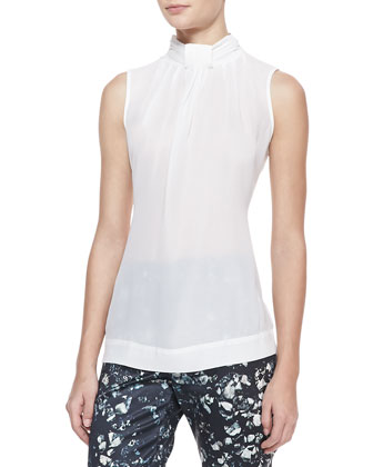 Sleeveless High-Neck Blouse, Ivory