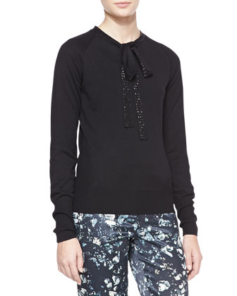 Tie-Neck Sweater, Black