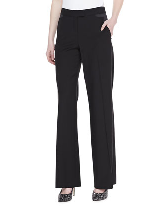 Wool Satin-Trim Pants, Black
