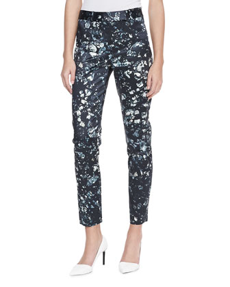Mineral-Printed Cropped Pants