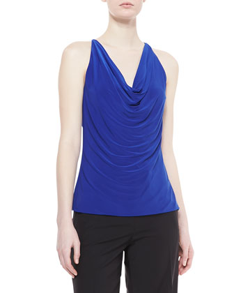 Cowl-Neck Jersey Top, Blue