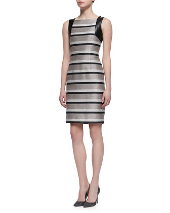 Sleeveless Striped Leather-Accent Sheath Dress, Taupe/Black