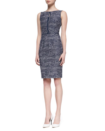 Sleeveless Tweed Sheath Dress, Navy/White