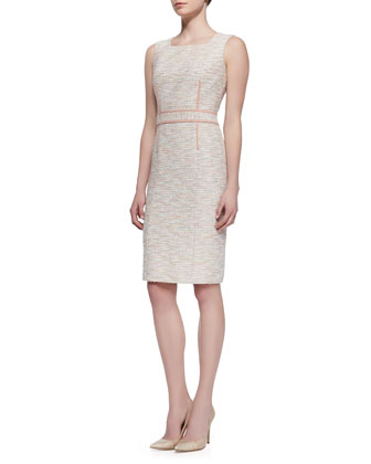 Sleeveless Square-Neck Tweed Dress, Pink/Multicolor