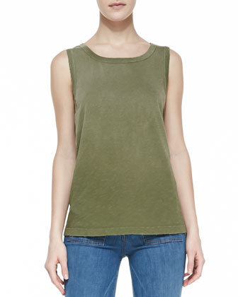The Infantry Jacket, Faded Cotton Muscle Tank & Dixie Wide-Leg Jeans