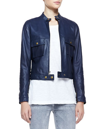 Leather Front-Zip Moto Jacket