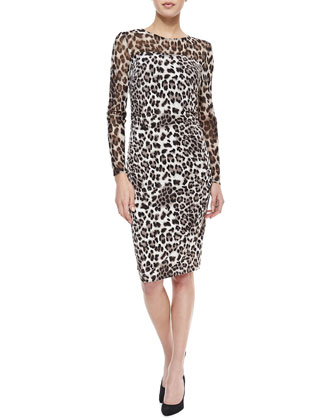 Long-Sleeve Mesh-Top Leopard-Print Dress, Brown/Snow
