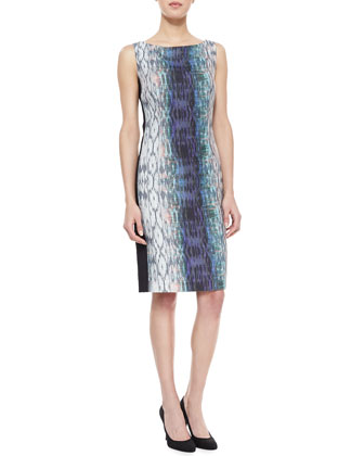 Ombre-Print Sleeveless Boat-Neck Dress