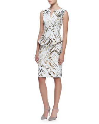 Sashi Animal-Print Peplum Sheath Dress