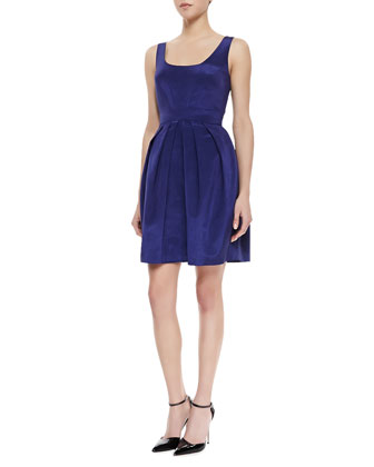Sleeveless Pleated Skirt Dress, Ink Blue