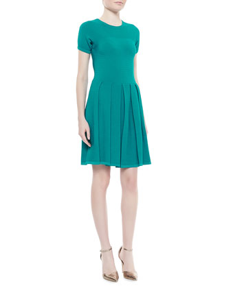 Short-Sleeve Fit-and-Flare Sweaterdress, Caribbean Green