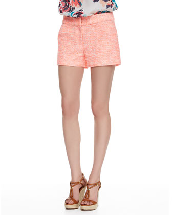 Textured Jacquard Shorts, White/Coral