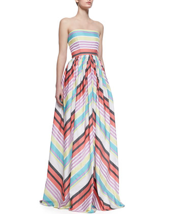 Seraphina Striped Strapless Taffeta Gown