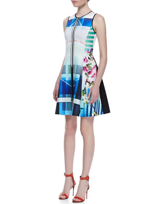 Hollywood Bowl Sleeveless Dress, Multicolor