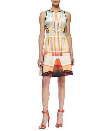 Fluorescent Light Cutout DressCutout Dress