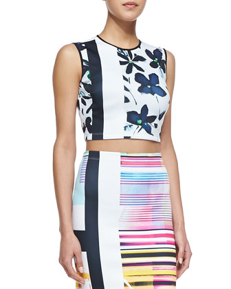 Garden Floral & Stripe-Print Sleeveless Top