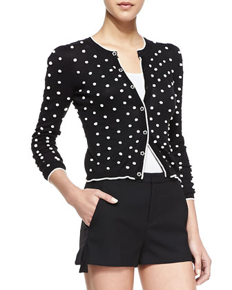 Long-Sleeve Polka Dot Knit Cardigan