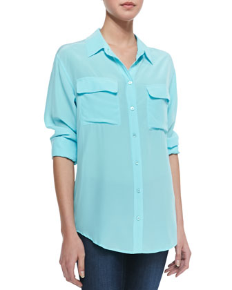 Signature Silk Blouse, Light Teal