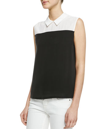 Elliot Two-Tone Silk Top