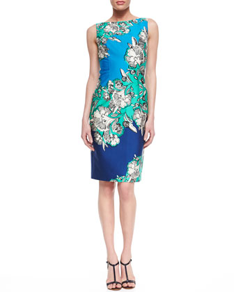 Unknown Floral-Print Sheath Dress