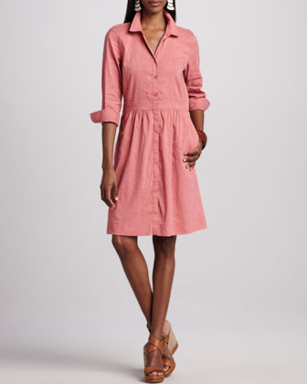 3/4-Sleeve Linen-Blend Shirtdress