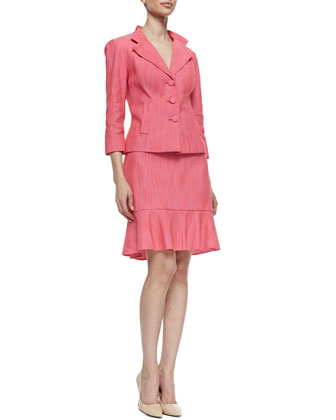 Three-Button Front Jacket & Skirt Suit Set