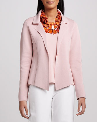 Interlock One-Button Jacket, Jersey Tank & Modern Wide-Leg Pants, Petite