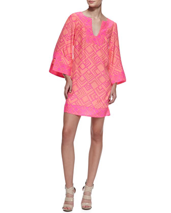 Charlotte Long Sleeve Dress, Papaya/Pink