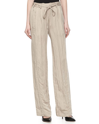 Drawstring Crinkled Wide-Legs Pants