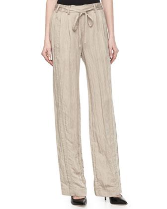 Drawstring Crinkled Wide-Legs Pants