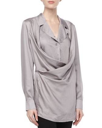 Draped-Front Button Tunic, Quartz