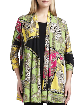 Miami Print Long Cardigan, Knit Long Tunic/Tank & Straight-Leg Jersey ...