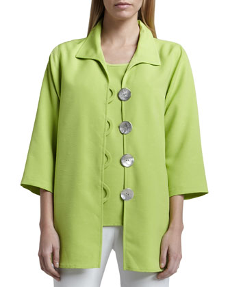Shantung Big-Button Shirt, Women's