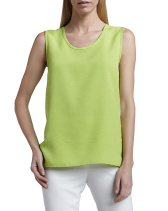 Shantung Big-Button Shirt, Tank & Slim Capris, Petite