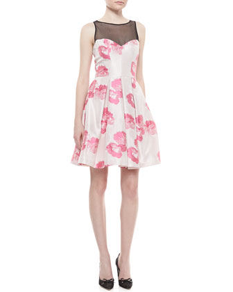 Couture Rose Illusion-Neck Cocktail Dress
