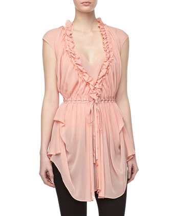 Ruffle Draped Blouse, Tourmaline