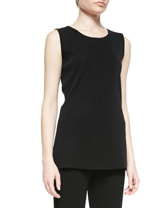 Cathy Scoop-Neck Tank, Black