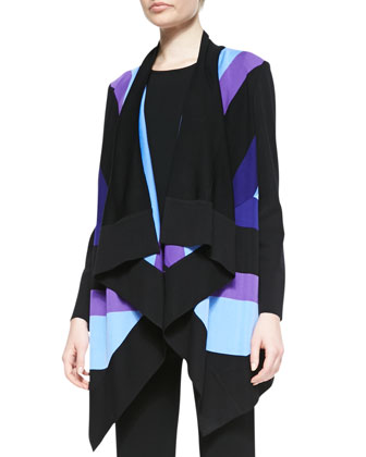 Ophelia Striped Grid-Stitch Cardigan, Petite