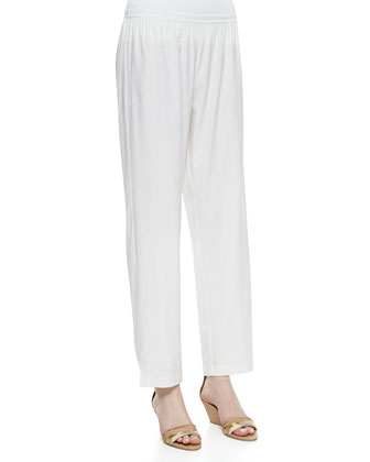 Linen Slim Pants, White, Women's