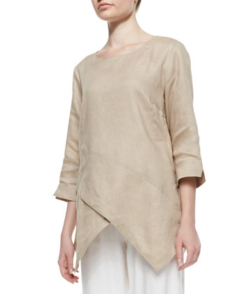Linen Asymmetric Long Tunic & Linen Slim Pants, Women's