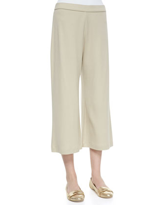 Knit Cropped Wide-Leg Pants, Petite