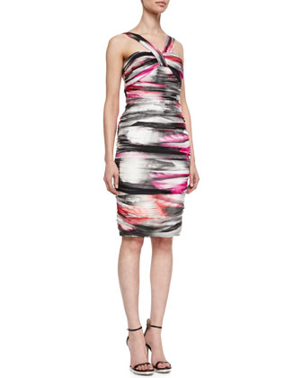 Airbrushed Halter-Style Cocktail Dress, Multicolor