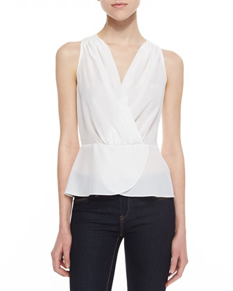 Silk Peplum Surplice Top