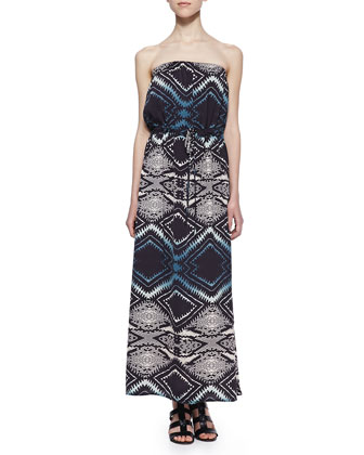 Strapless Ombre Diamond-Print Maxi Dress, Black Pattern