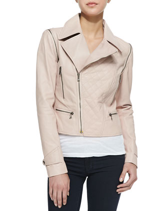 Asymmetric Zip-Sleeve Convertible Moto Jacket/Vest, Pale Pink