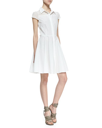 Miah Fit-and-Flare Shirtdress, White