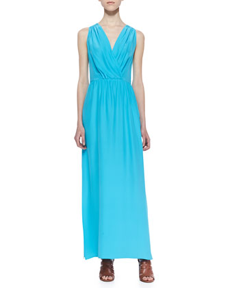 Skylar Pleated Surplice Maxi Dress, Turquoise
