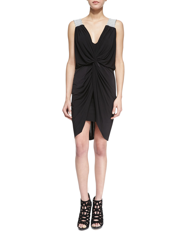Womens Braided Shoulder Knot Dress   T Bags   Black (XS)