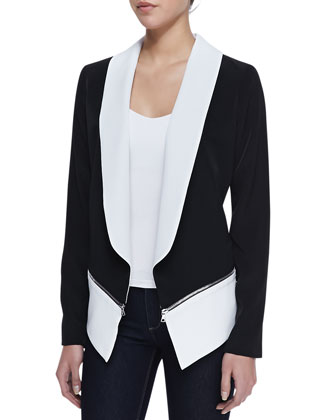 Zipper Detail Pony Blazer, Black/White