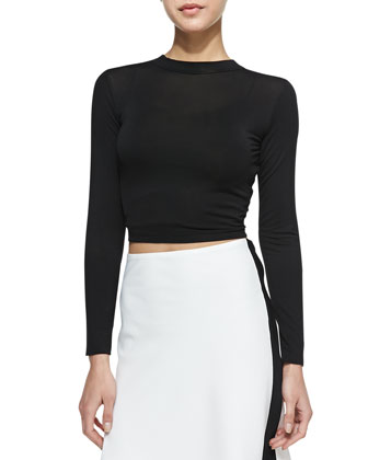 Cropped Long-Sleeve Offense Top, Black